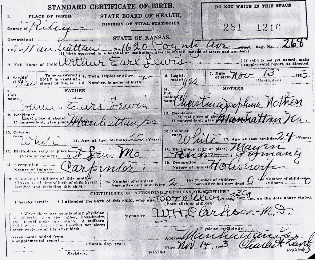 The cash family the ancestors and relatives of howard cash birth certificate for arthur earl lewis photo courtesy of michael lewis aiddatafo Gallery
